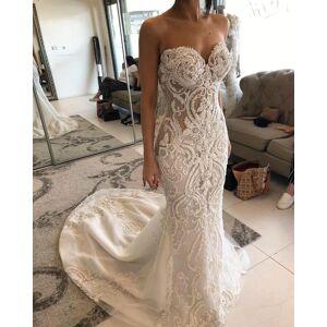 dressydances Luxurious Mermaid Wedding Dresses Bridal Gown with Appliques Lace US14W