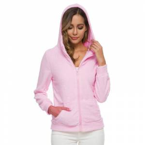 Ustyle Women's Zipper Hooded Warm Jacket Casual Plush Zipper Coats (with plus sizes) [Pink] L