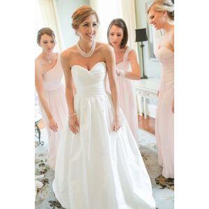 Dressmeet Retro Ball Gown Sweetheart Ruffled Satin Long Wedding Dresses US 14