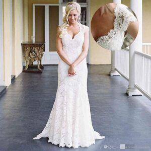 Dressmeet Chic Elegant Mermaid Cap Sleeves Lace Wedding Dresses US 14