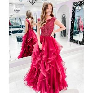 Dressmeet Gorgeous Ball Gown Ruffled Tulle Scoop Neck Rose Red Prom Dresses with Lace US 14
