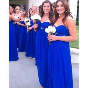 dressydances Royal Blue Bridesmaid Dresses Waist with Rhinestones US14W