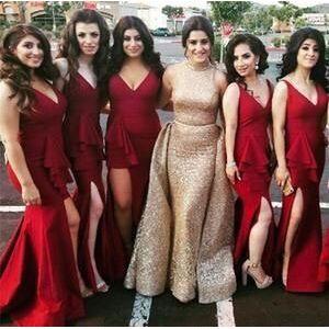 dressydances V Neck Bridesmaid Dresses Split US14