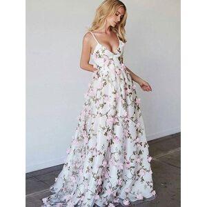 FancyGirl 3D Flower V Neck Floor Length Prom Dress, V Neck Formal Dress, Graduation Dress US 14