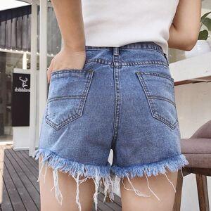 Sheloveit Light Blue Ripped Style Denim Shorts L