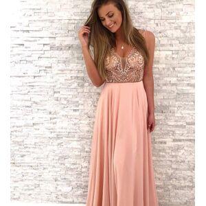 dreamdressy Gorgeous Beaded Pink Chiffon Long Party Dress US 14