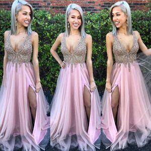 dreamdressy Luxurious Deep V Neck Beaded Pink Long Formal Dress with Side Slit US 14
