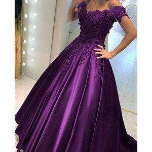 superbnoivadress Purple Prom Dress Off the Shoulder Straps, Long Homecoming Dress, Graduation Dress, Back To School Party Dresses  US14