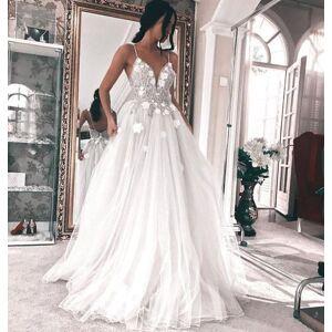 Dressmeet Elegant Spaghetti Straps V Neck Lace Tulle A-Line Long Wedding Dress with 3D flowers US 14