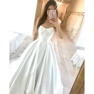 Dressmeet Vintage Ivory Satin Wedding Dresses, 2020 Wedding Dresses with Train US 14