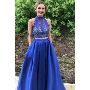 Dressmeet A-Line Two Piece Hater Royal Blue Satin Long Prom Dresses with Lace Top,Evening Party Dresses with Pockets US 14