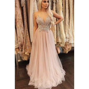 dreamdressy Spaghetti Straps Beaded Pink Tulle Long Formal Dress US 14