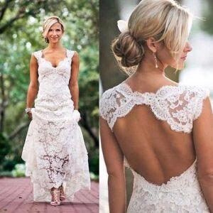 dressydances Lace Open Back Wedding Dress Bridal Gown US14W