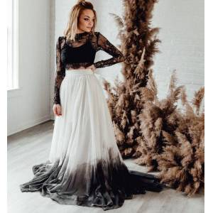 dressydances Two Piece Black Wedding Dresses Bridal Gown with Sleeves US14