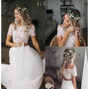 dressydances Two Piece Wedding Dresses Bridal Gown with Appliques US14W
