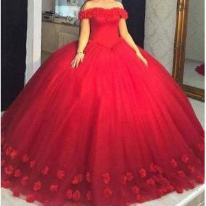 dressydances Off the Shoulder Ball Gown Prom Dresses Birthday Gown with HandmadeFlowers US14