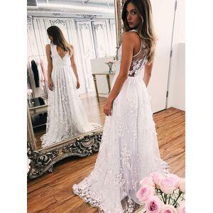 Dressmeet Fairy A Line V Neck 3D Flower Lace Wedding Dresses, Beach Lace Wedding Dresses US 14