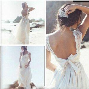 dressydances Beach Wedding Dresses Bridal Gown with Bowknot US14