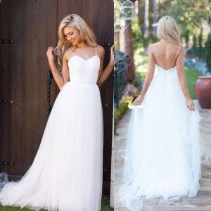 dressydances Beach Spaghetti Straps Wedding Dresses Bridal Gown US14W