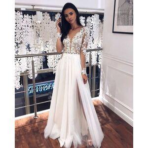 Dressmeet Charming V Neck Long Sleeves Lace Split Wedding Dresses US 14