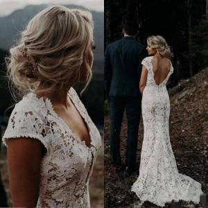 Dressmeet Gorgeous Sheath V Neck Cap Sleeves Lace Wedding Dresses, Elegant Wedding Gowns US 14