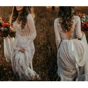 Dressmeet Bohemian & Fairy A Line V Neck Long Sleeves White Dot Tulle Wedding Dresses with Lace US 14