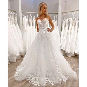 Dressmeet Gorgeous A Line V Neck Spaghetti Straps Wedding Dresses with Appliques US 14