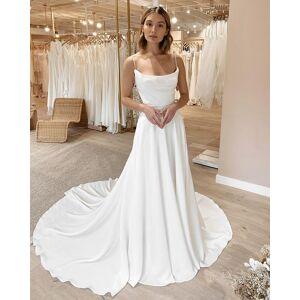 Dressmeet Elegant A Line Cowl Neck Spaghetti Straps White Satin Wedding Dresses US 14