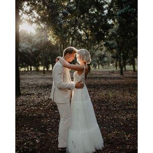 Dressmeet Fairy A Line V Neck Tulle Tiered Wedding Dress with Lace, Boho Beach Bridal Dress US 14