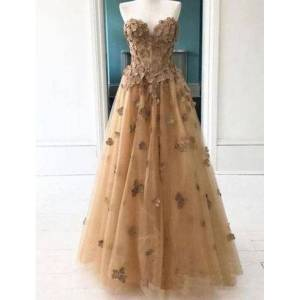 dressydances Sweetheart Tulle Prom Dresses with Appliques US14W