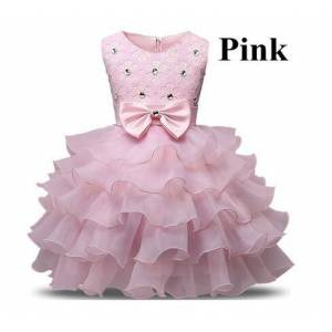 zcz love Baby Christening Girl Dress Kids Ruffles Lace Dresses for Girls Princess Tutu Dress for Wedding Party Events Wear Girls pink 5-6T