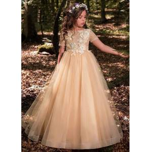 FlowerGirlProm Gold Lace Flower Girl Dresses for Weddings Kids Evening Dress Holy Communion Dresses For Girls Pageant Gowns,074 Child 14