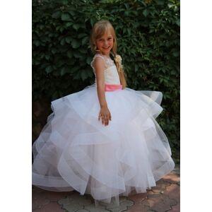 FlowerGirlProm White Ball Gown Lace First Communion Dresses for Girls Formal Girls Evening Flower Girl Dresses,102 Child 8
