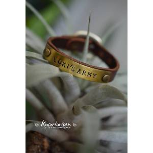 Loki's Army on brass tag brown Leather Bracelet Cuff with buckle silver tag+black leather