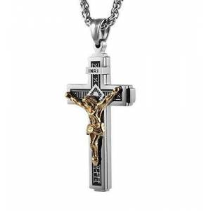 "Hughdeal4less Catholic Jesus Christ on INRI Cross Crucifix stainless steel Pendant Necklace 24"" Chain"