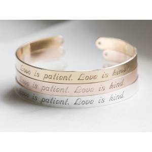 byVellamo Love is Patient, Kind Bracelet Religious Gift Christian Cuff Religious Jewelry Gold plated