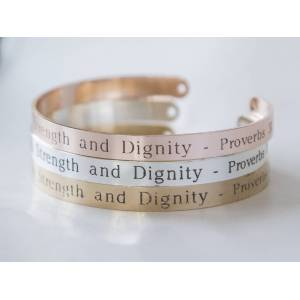 byVellamo She Is Clothed With Strength And Dignity Bracelet Gift Christian Cuff Bracelet, Proverbs 31:25 Jewelry silver plated