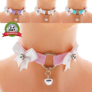 Women's Handmade Fashion Shop velvet choker necklace satin kitten play collar ddlg collar lolita princess collar day collar kawaii bell choker kittenplay collar daddy PINK  L