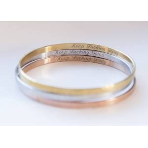 byVellamo Hidden Message Keep Fucking Going Bracelet, Personalized Engraved Rose gold plated