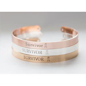 byVellamo Survivor Bracelet, Cancer Survivor Gift, Strength Cuff Bracelet Silver plated
