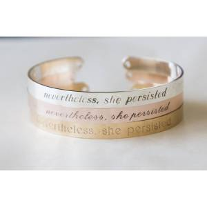 byVellamo Nevertheless she persisted bracelet, engraved cuff, silver/gold feminist inspirational personalized gift Gold plated