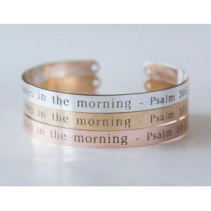 byVellamo Joy Comes in the Morning Bracelet Gift Christian Cuff Bracelet, Psalm 30:5 Engraved Bracelet Rose gold plated