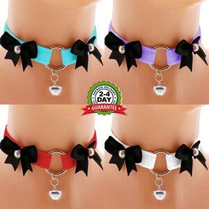 Women's Handmade Fashion Shop velvet choker necklace satin kitten play collar ddlg collar lolita princess collar day collar kawaii bell choker kittenplay collar daddy PURPLE   XL