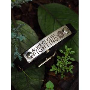 Chicozari Always keep fighting with Anti-possession symbol on brass tag brown Leather Bracelet Cuff with buckle silver tag+brown leather