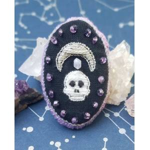 Fox Stone Jewelry Skull & Moon Pin with Amethyst & Moonstone (20% of proceeds available for donation) Rabbit Advocates (in Portland, OR)