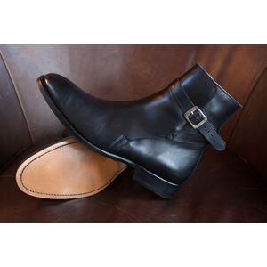 Rangoli Collection Handmade Men Black Leather Jodhpurs, Men Black Ankle Boots,, Men ankle Boots US 11.5