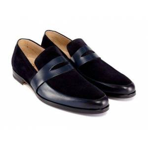 Rangoli Collection Handmade Men two tone Shoes moccasins, Men Navy blue and and black suede shoes US 11.5