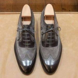 Rangoli Collection Handmade Two tone wingtip formal shoes, Men gray and black two tone shoes, Men dress shoes US 11