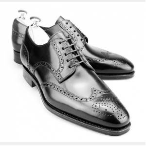 Rangoli Collection Handmade Men brogue wingtip formal Shoes, Men wing tip black leather dress shoes US 11.5