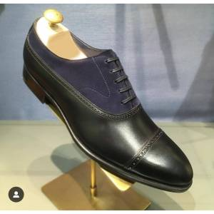 Rangoli Collection Handmade Men Oxford two tone Shoes Men designer Navy blue and black formal shoes US 11